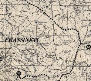 Particolare di Montegarullo in una mappa da Territorio e Beni Culturali di una città montana, Pavullo nel Frignano, 1979
