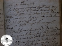 Atto di battesimo di Raimondo Montecuccoli 22 febbraio 1609
