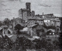Incisione del 1878, raffigurante il castello come appariva prima del crollo